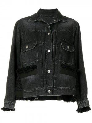 Джинсовая куртка с необработанными краями Sacai. Цвет: черный