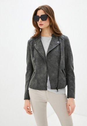 Куртка кожаная Only. Цвет: серый