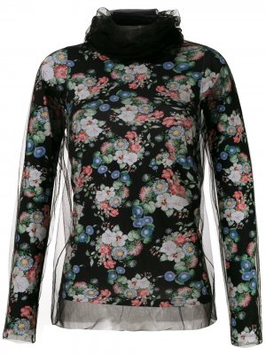 Блузка с принтом и вставками из тюля Gloria Coelho. Цвет: черный