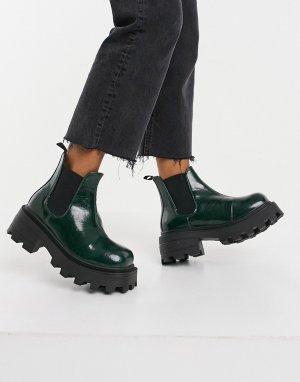 Ботинки челси бутылочного зеленого цвета с квадратным носком на массивной подошве -Зеленый цвет Topshop