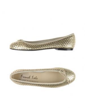 Балетки FRENCH SOLE. Цвет: платиновый