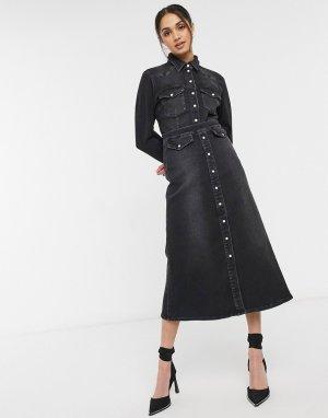 Длинная юбка выбеленного черного цвета Astrid-Черный цвет Gestuz