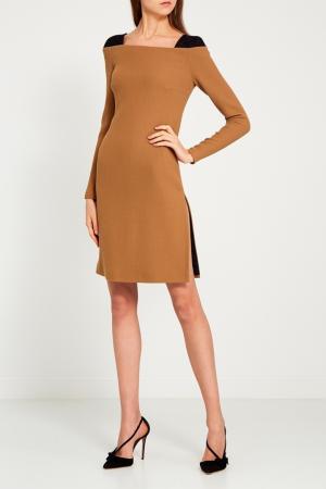 Шерстяное платье-футляр Chapurin. Цвет: бежевый