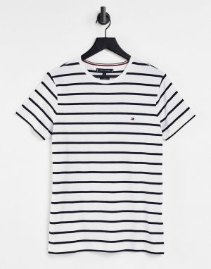 Белая футболка узкого кроя в полоску -Белый Tommy Hilfiger
