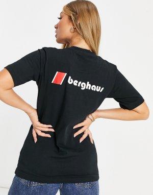 Черная футболка с логотипом на груди и спине Heritage-Белый Berghaus