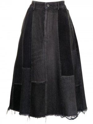 Джинсовая юбка со вставками Balenciaga. Цвет: черный
