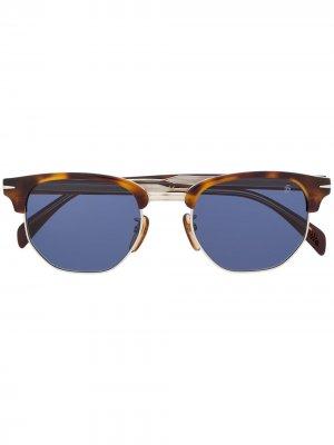 Солнцезащитные очки в полуободковой оправе Eyewear by David Beckham. Цвет: коричневый
