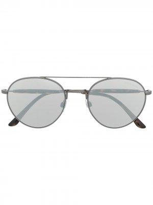 Солнцезащитные очки в круглой оправе Giorgio Armani. Цвет: золотистый