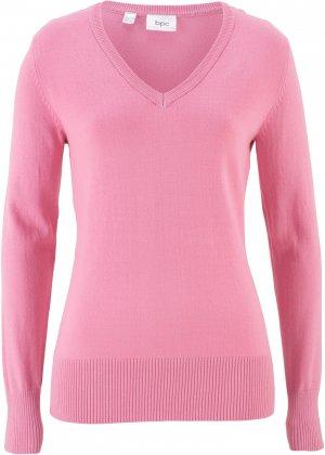 Пуловер тонкой вязки с V-образным вырезом горловины bonprix. Цвет: розовый