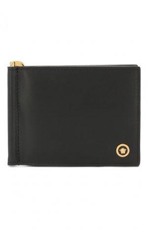 Кожаный зажим для денег Versace. Цвет: чёрный