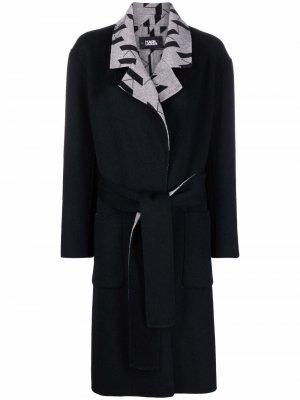 Двустороннее пальто с монограммой KL Karl Lagerfeld. Цвет: черный