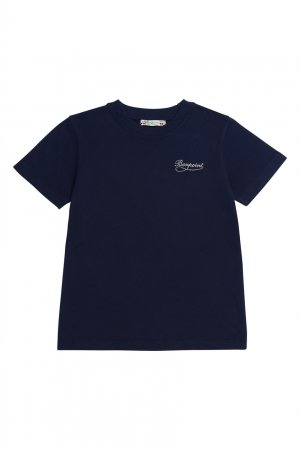 Темно-синяя футболка с логотипом Bonpoint. Цвет: синий