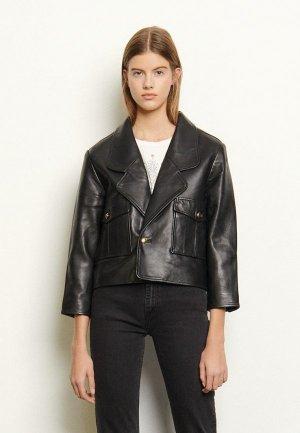 Куртка кожаная Sandro. Цвет: черный