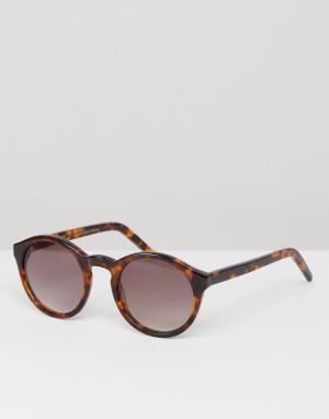 Солнцезащитные очки в круглой черепаховой оправе Monokel Eyewear. Цвет: коричневый