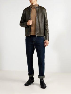 Мужская кожаная куртка Ice Play. Цвет: khaki