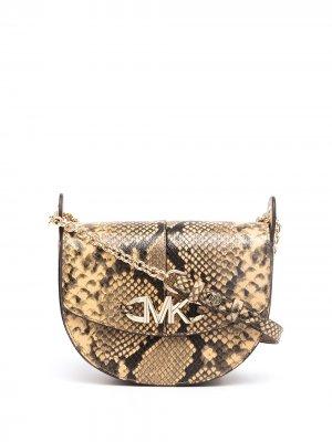 Izzy snakeskin-effect crossbody bag Michael Kors. Цвет: коричневый
