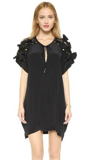 Платье-туника из шелка с бантами Emma Cook. Цвет: голубой