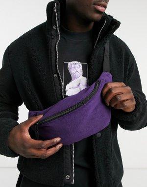 Флисовая сумка-кошелек на пояс фиолетового цвета -Зеленый цвет ASOS DESIGN