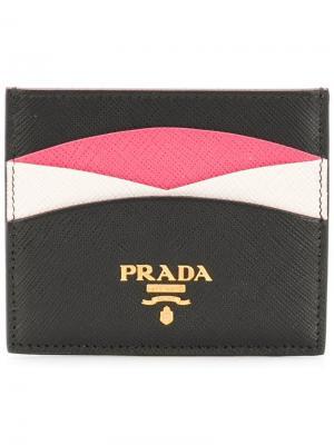 Футляр для карт сафьяновой выделки Prada. Цвет: черный