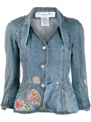 Декорированная джинсовая куртка с баской Christian Dior. Цвет: синий